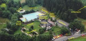 Luftaufnahme Freibad mit Informationen